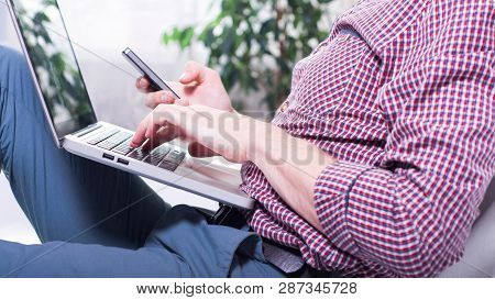 Businessman With Laptop. Modern Male Person In Work. Adult Succes People.