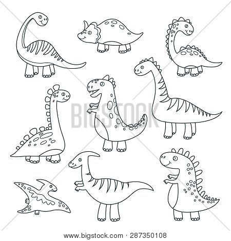 Outline Dinosaurs. Cute Baby Dino Funny Monsters Jurassic Wildlife Animals Dragon Funny Dinosaurs Ve