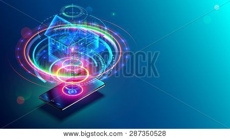 Transparent Holographic Architecture Plan Of Smart House Above Smartphone. Internet Of Things Techno