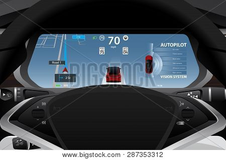Self Driving Electric Car Dashboard Display Closeup. Vector Illustration