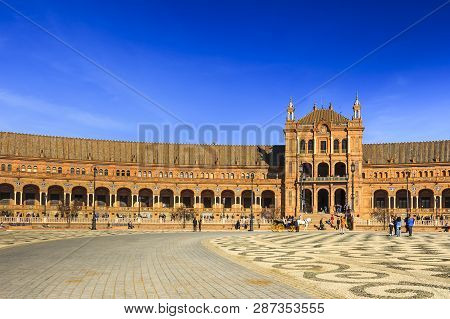 Seville, Spain - Dec 2018: Main Plaza At Spain Square Facing Side Building Which Is Currently Occupi