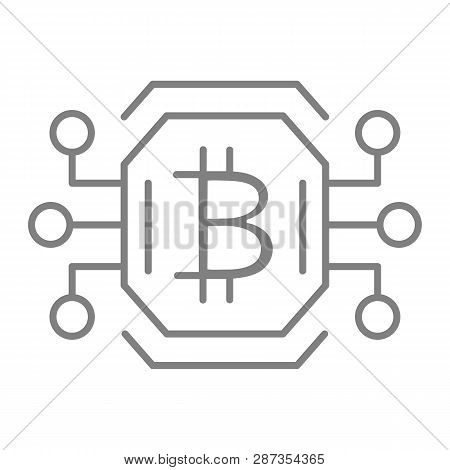 Bitcoin Chip Thin Line Icon. Video Card Or Gpu Processor For Farming Bitcoin Vector Illustration Iso
