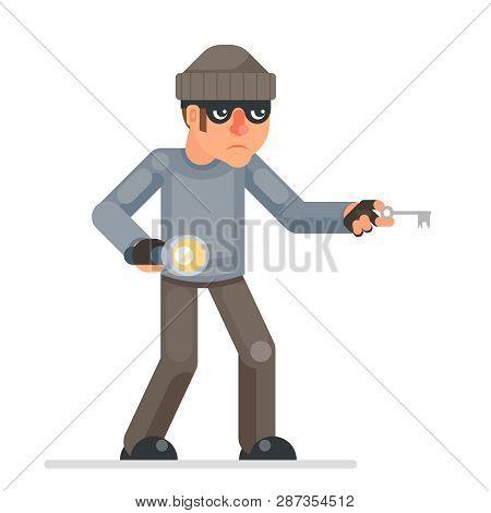 Picklock Housebreaker Thieves Keys Flashlight Hand Sneak Evil Greedily Thief Cartoon Rogue Bulgar Ch