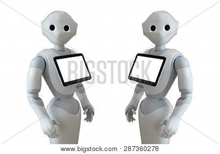 Robot Consultant With Digital Tablet Isolated On White Background