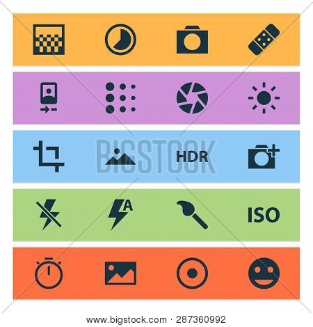 Photo Icons Set With Landscape, Blur, Automatic Picture Elements. Isolated  Illustration Photo Icons