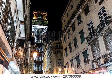 Elevador De Santa Justa, A.k.a. El Grasciaro, In The Night, Santa Justa Elevator, Landmark Of Lisbon