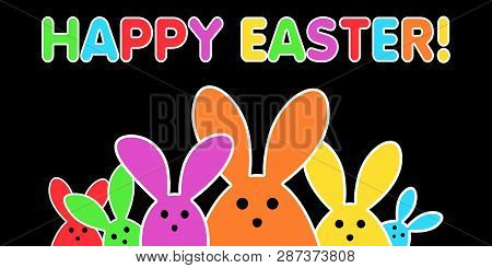 Colorful Easter Bunny As Illustration On Black Background. Playful Easter Background For The Easter