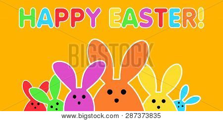 Colorful Easter Bunny As Illustration On Yellow Background. Playful Easter Background For The Easter