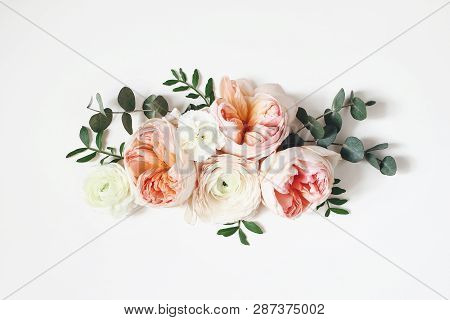 Floral Arrangement, Web Banner With Pink English Roses, Ranunculus, Carnation Flowers And Green Leav