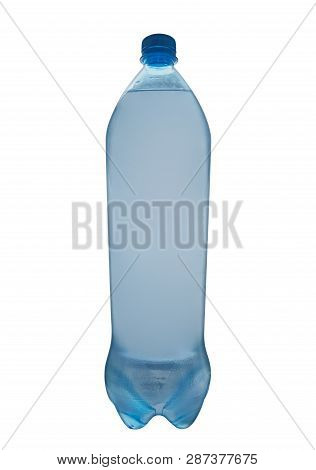 Full Water Bottle With Cap On A White Background. Clipping Path Included.