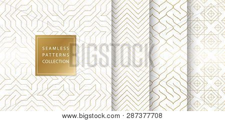 Geometric Seamless Golden Pattern Background. Simple Vector Graphic White Print. Repeating Line Abst