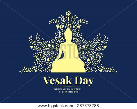 Vesak Day Banner With Yellow Buddha Sit And Abstract Vine Pattern On Dark Blue Background Vector Des