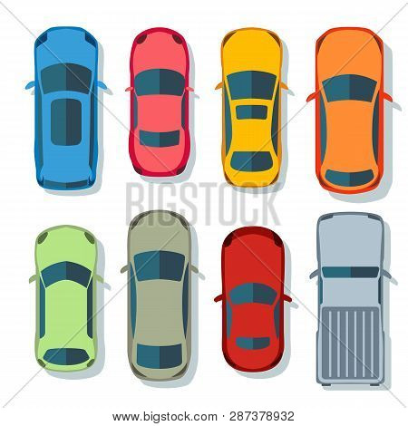 Cars Top View Vector Flat. Vehicle Transport Icons Set. Automobile Car For Transportation, Auto Car