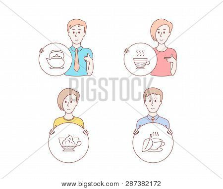 People Hand Drawn Style. Set Of Teapot, Espresso Cream And Cafe Creme Icons. Mint Tea Sign. Tea Kett