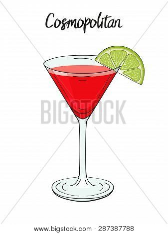 Cosmopolitan Cocktail, With Lime. For Cafe And Restaurant Menu, Packaging And Advertisement. Hand Dr