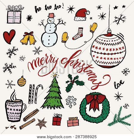 Merry Christmas Hand-drawn Illustration Elements Like Tree, Snowman, Snowflakes, Presents  And Wreat