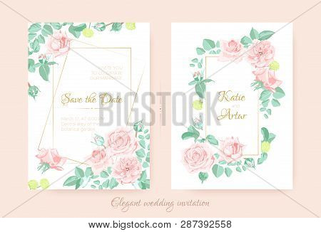 Wedding Flower, Vintage Rose For Invite Design. Floral Bouquet Or Wreath In Watercolor Style. Elegan