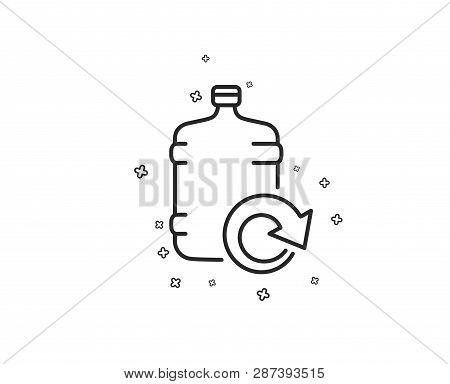 Water Cooler Bottle Line Icon. Refill Aqua Drink Sign. Liquid Symbol. Geometric Shapes. Random Cross