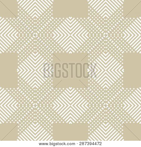 Subtle Vector Geometric Seamless Pattern With Crossing Diagonal Lines, Stripes, Squares. Abstract Re
