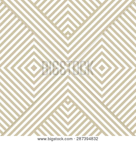 Vector Golden Geometric Lines Pattern. Luxury Linear Background With Diagonal Stripes, Squares, Chev