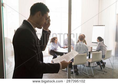 Nervous Stressed Sweaty Businessman Speaker Feel Public Speaking Fear