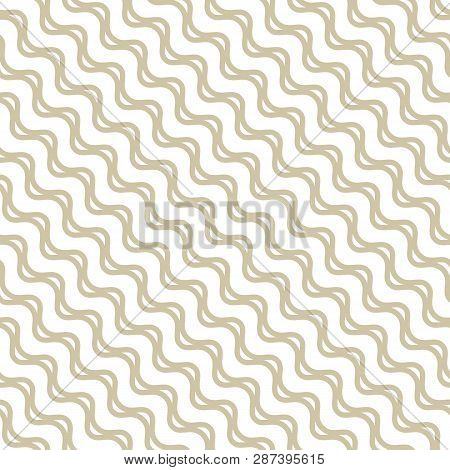 Golden Waves Seamless Pattern. Abstract Vector Texture With Diagonal Wavy Lines, Stripes, Curved Sha