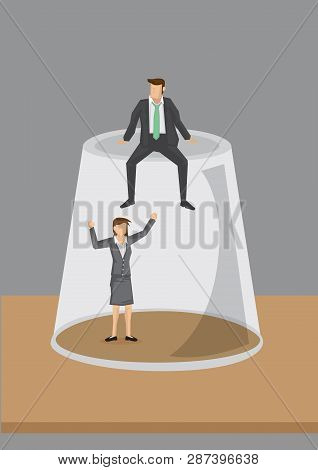 Cartoon Businesswoman Trapped In Inverted Transparent Glass And A Businessman Sitting On Top Of The