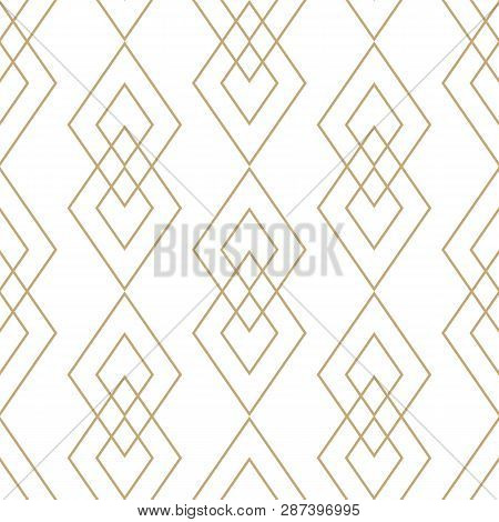 Vector Golden Geometric Texture. Elegant Seamless Pattern With Diamonds, Rhombuses, Thin Lines. Abst