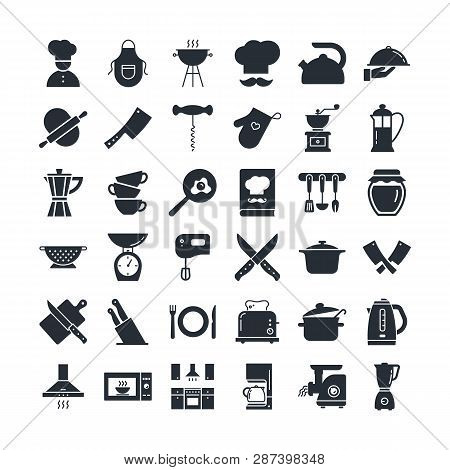 Set Of Icons On The Kitchen Theme, Kitchen Tools, Logos, And Lettering. Icons Are Drawn In A Flat St