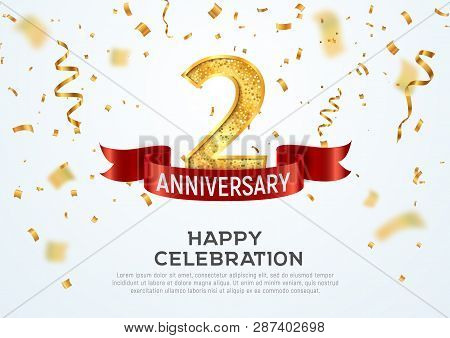 2 Years Anniversary Vector Banner Template. Two Year Jubilee With Red Ribbon And Confetti On White B