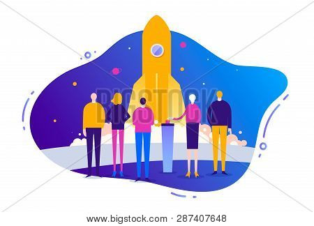 Vector Business Illustration, Stylized Characters. Concept Of Business Start Up, Successful Business