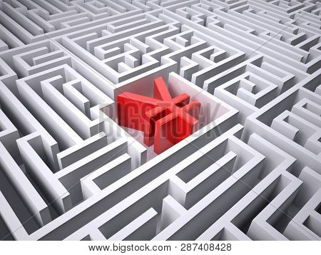 Red Yen Symbol In The Centre Of Labyrinth, 3d Illustration