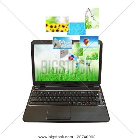 laptop PC and streaming images virtual buttons