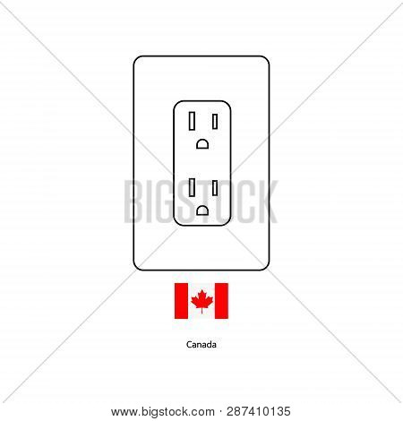 Electrical Socket Type B . Power Plug And Canada Flag Vector Illustration.