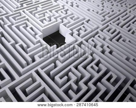 Labyrinth Maze With Black Hole Space Inside, 3d Illustration
