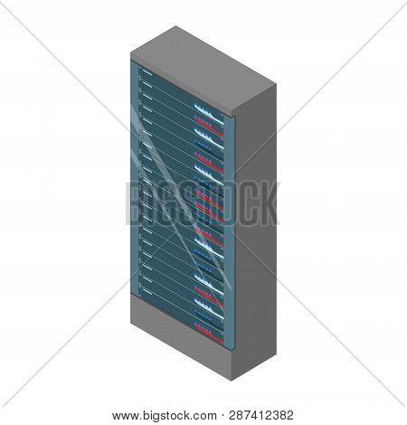 Network workstation server room concept. Server racks. poster