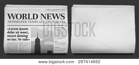 Newspaper Headline Mockup. Business News Tabloid Folded In Half, Financial Newspapers Title Page And