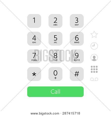 Dial Keypad. Touchscreen Phone Number Keyboard Interface Inspired By Apple Iphone Ios Dialer Flat Ve