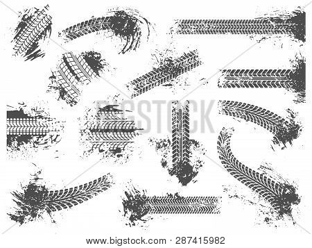 Dirty Tire Tracks. Grunge Motor Race Track, Wheel Tires Protector Pattern And Dirt Wheels Imprint Te