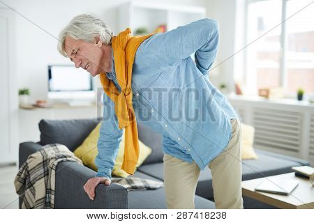 Portrait Of Modern Senior Man Suffering From Back Pain Leaning On Sofa, Copy Space