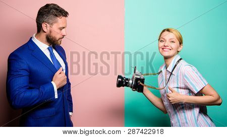 Businessman Enjoy Star Moment. Photographer Taking Photo Successful Businessman. Paparazzi Concept.