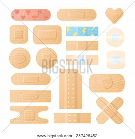 Collection Of Adhesive Bandages, Plasters Or Patches Isolated On White Background. Bundle Of Medical