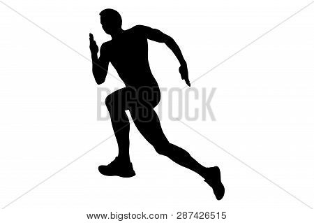 Running Uphill Athlete Runner Men Black Silhouette