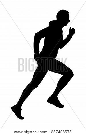 Black Silhouette Male Runner Running Uphill In Hooded Jacket