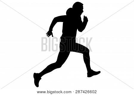Dynamic Running Uphill Male Athlete In Hoodie Bitmap Image