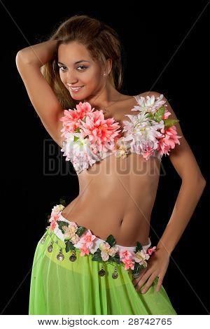 Beautiful Dancer In Tropical Costume.