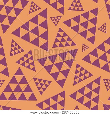 Orange And Purple Random Triangle Repeat Vector Pattern. Modern Lively Boho Vibe. Great For Yoga, Be