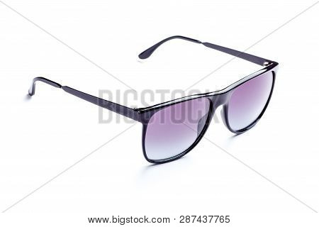 Stylish Sunglasses Isolated On White Background Side View