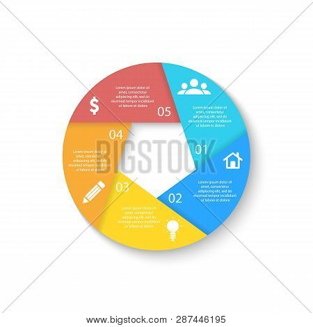 Template For Circle Diagram, Options, Web Design, Graph And Round Infographic. Business Concept With