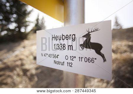 Sign Of Mountain Heuberg, In Bavaria, Springtime
